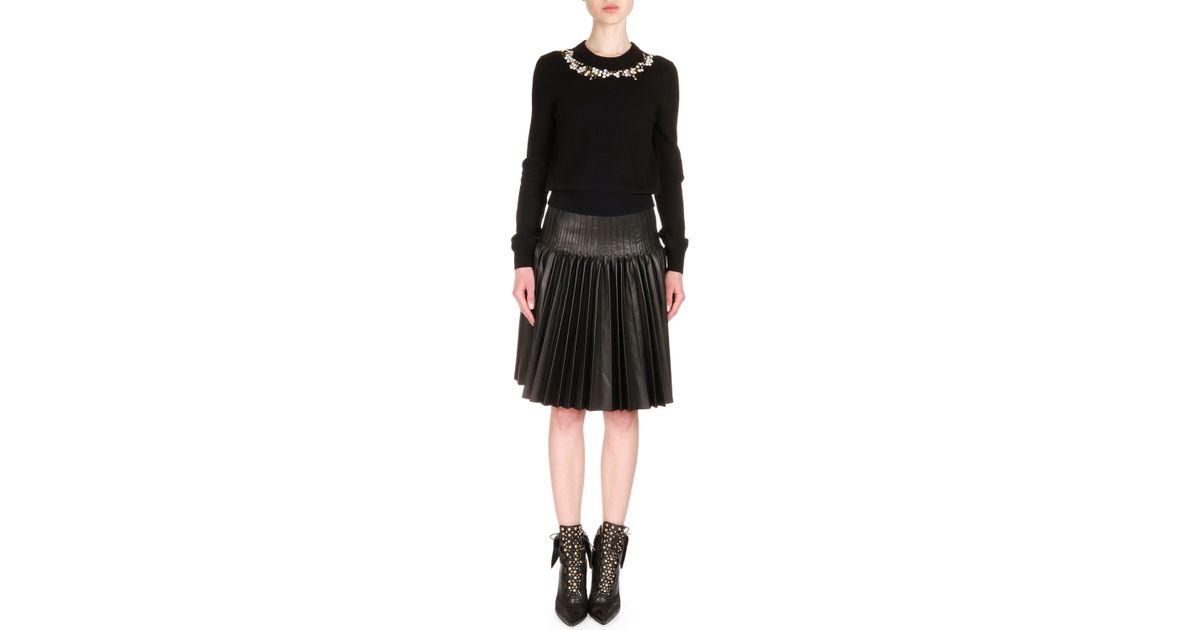 givenchy pleated leather fit and flare skirt in black lyst