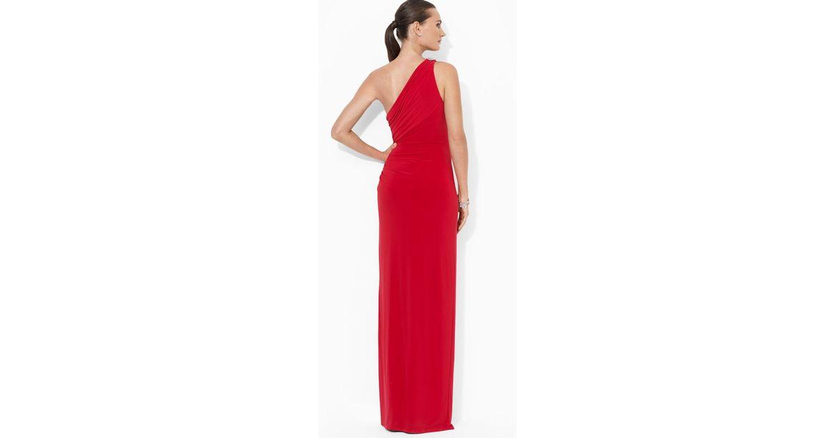 Lyst - Ralph Lauren Lauren Gown One Shoulder Brooch in Red