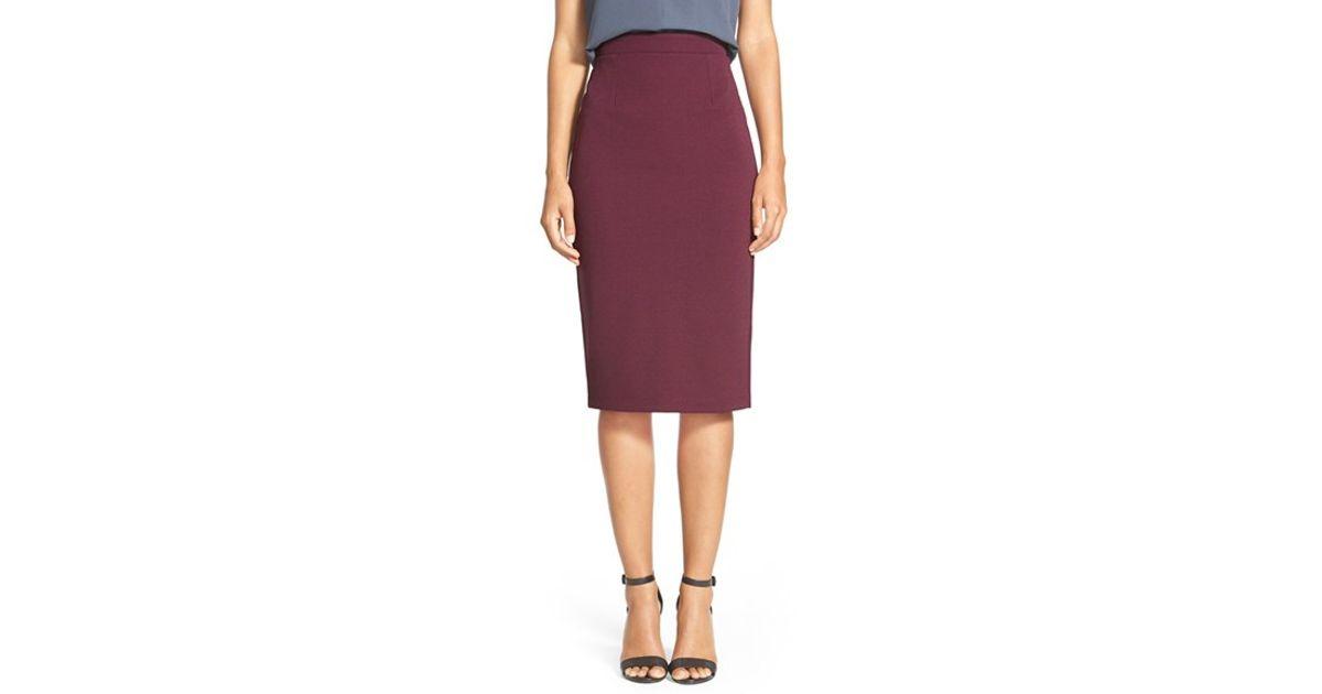 644e3e285e6 Lyst - Halogen Zip Back Knit Pencil Skirt in Purple