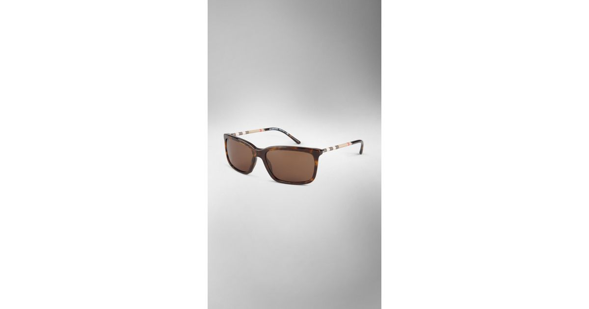 d38743d139ff Lyst - Burberry Check Arm Square Frame Sunglasses in Brown for Men