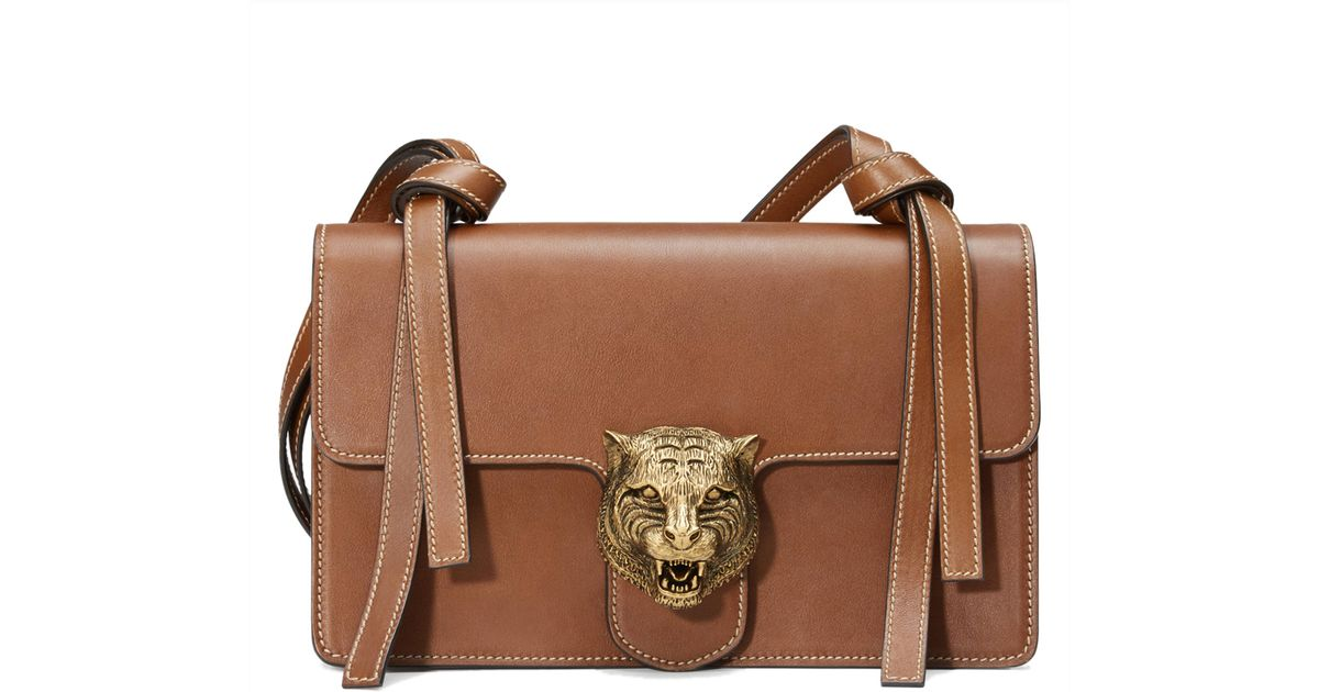 f96e2c54040beb Gucci Tiger Lock Shoulder Bag in Brown - Lyst