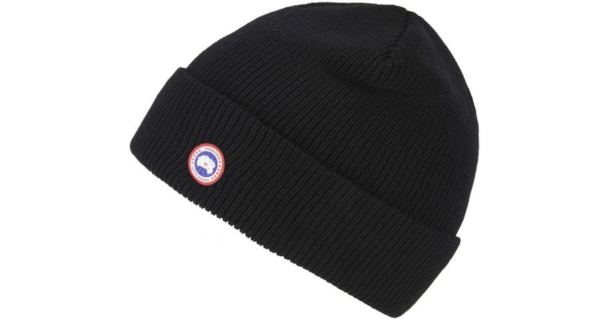 6c24d6af3c9 Canada Goose Men s Merino Wool Beanie Hat in Black for Men - Lyst