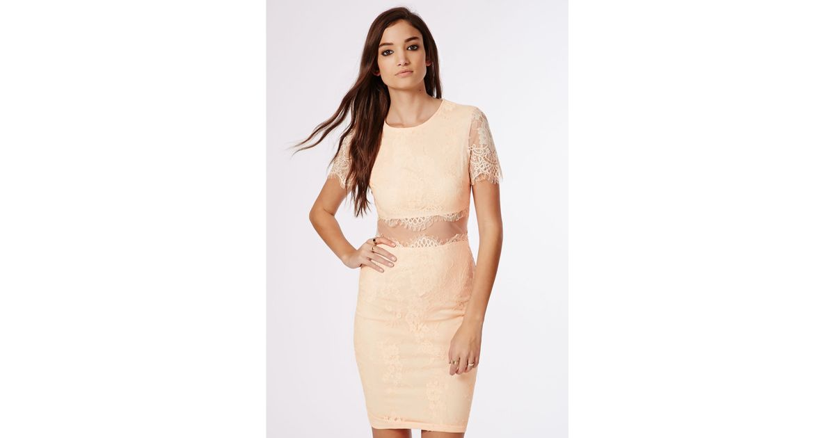 Lyst - Missguided Coldie Lace Short Sleeved Mesh Insert Midi Dress Nude in  Natural 428376d3e