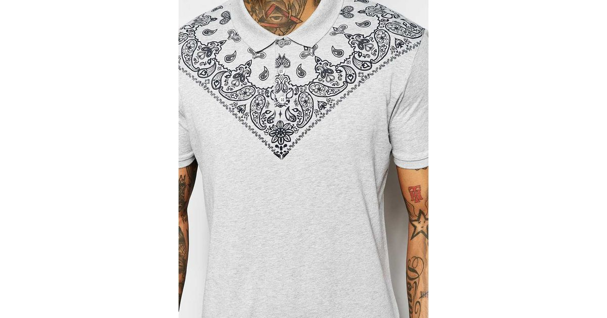 asos jersey polo with bandana print in gray for
