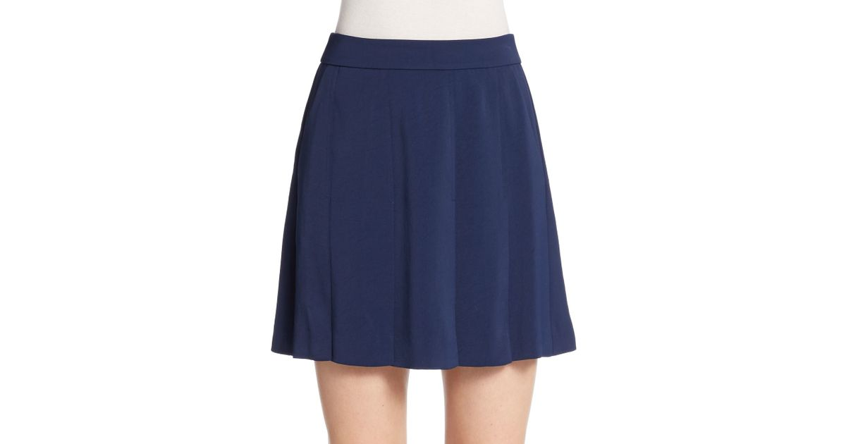 vince pleated skirt in blue lyst