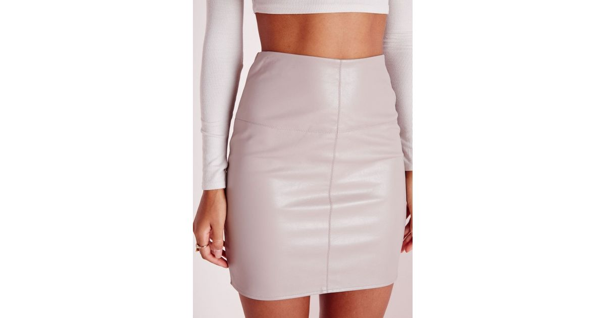 missguided faux leather mini skirt grey in gray lyst