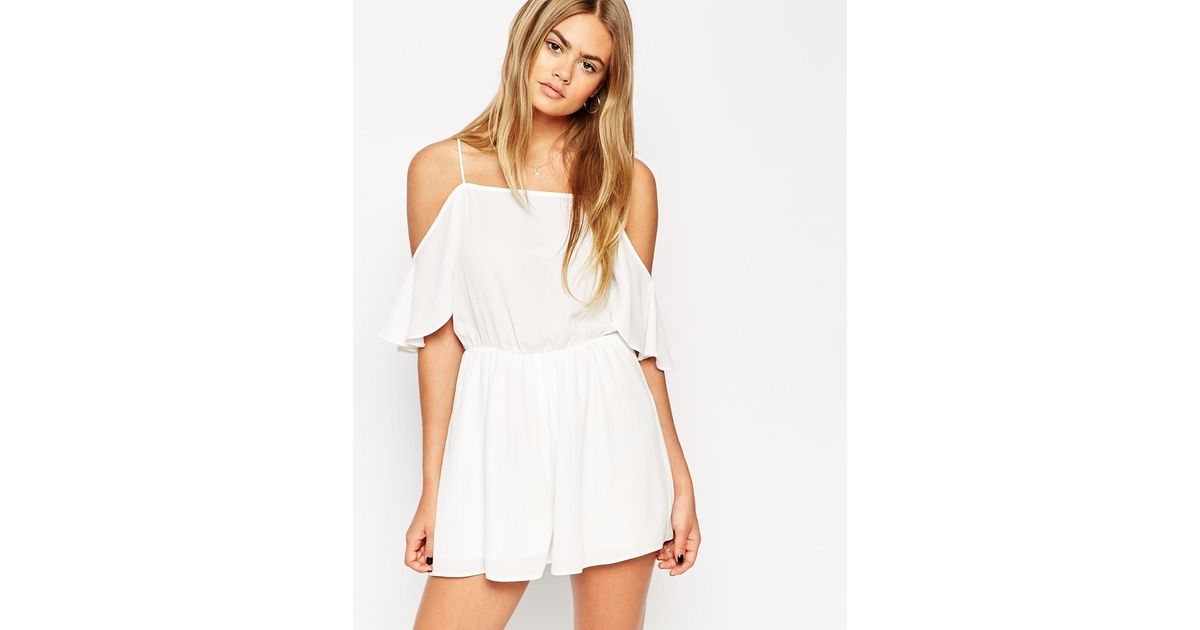 Lyst - ASOS Playsuit With Cold Shoulder Ruffle in White