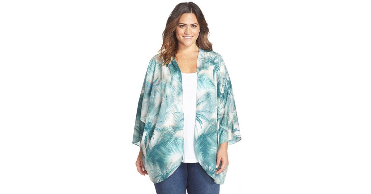 8b4545f440 Lyst - CJ by Cookie Johnson Palm Tree Print Kimono in Green