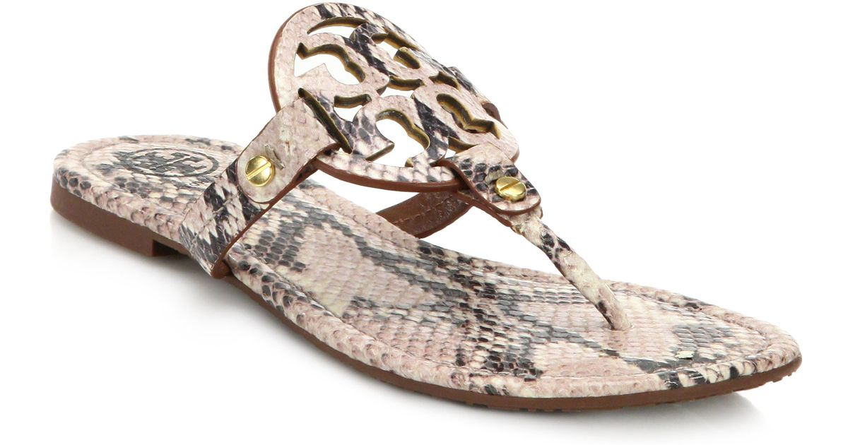 1fdb577da7f784 Lyst - Tory Burch Miller Snake-Embossed Leather Logo Thong Sandals in  Natural