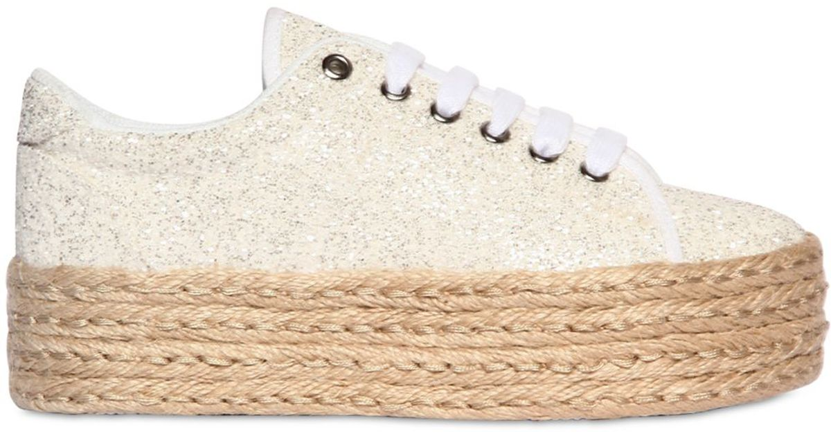 e7cf79815f2b8 Jeffrey Campbell 50mm Glittered Rope Platform Sneakers in White - Lyst