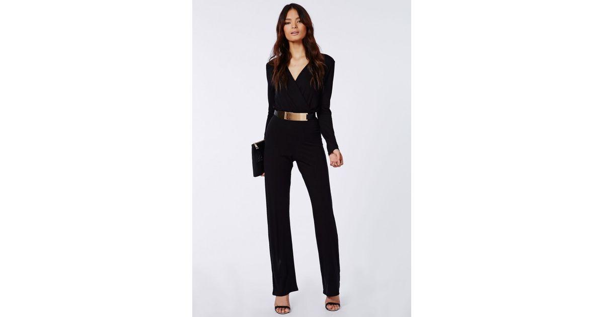 2ca0f7acf94 Lyst - Missguided Deliana Long Sleeved Wrap Wide Leg Jumpsuit Black in Black