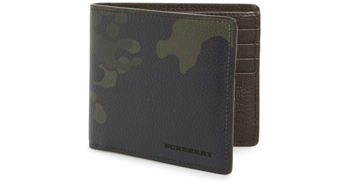 f7cf9424da11 Lyst - Burberry Camo Print Leather Bifold Wallet in Green for Men