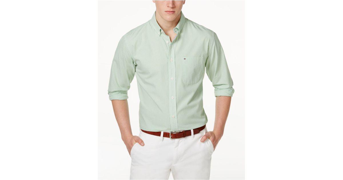 Tommy hilfiger fitzgerald striped shirt in green for men for Tommy hilfiger fitzgerald striped shirt