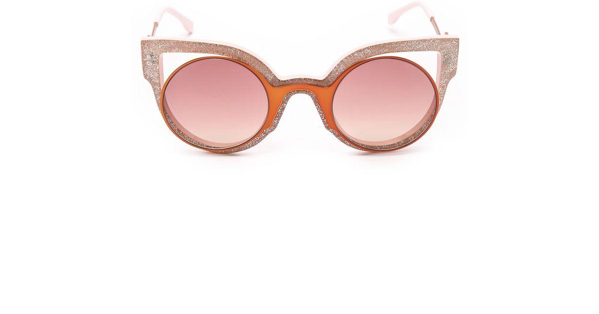 4f476e59ad14c Fendi Round Cutout Sunglasses in Orange - Lyst