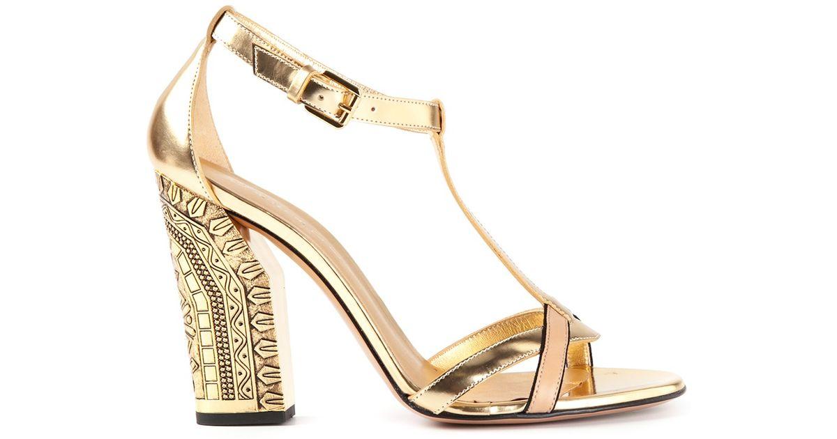 Lyst - Casadei Chunky Heel Sandals in Metallic