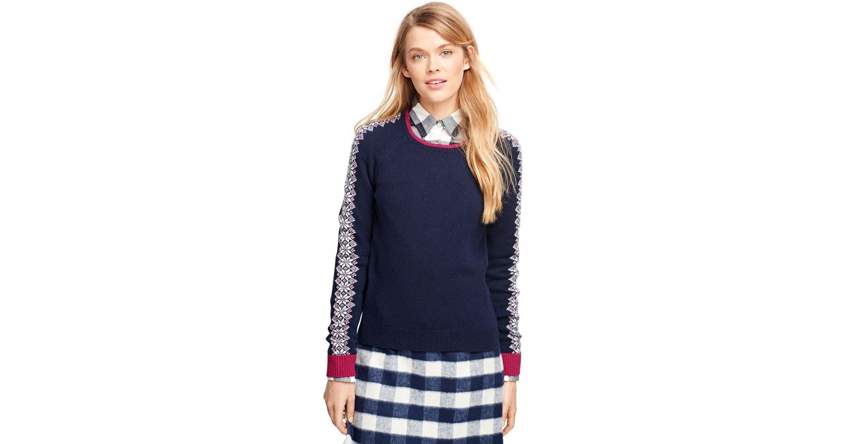 Brooks brothers Lambswool Fair Isle Sweater in Blue | Lyst