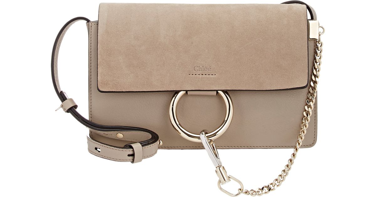 c4f1d140abfb Chloé Faye Small Leather Shoulder Bag in Gray