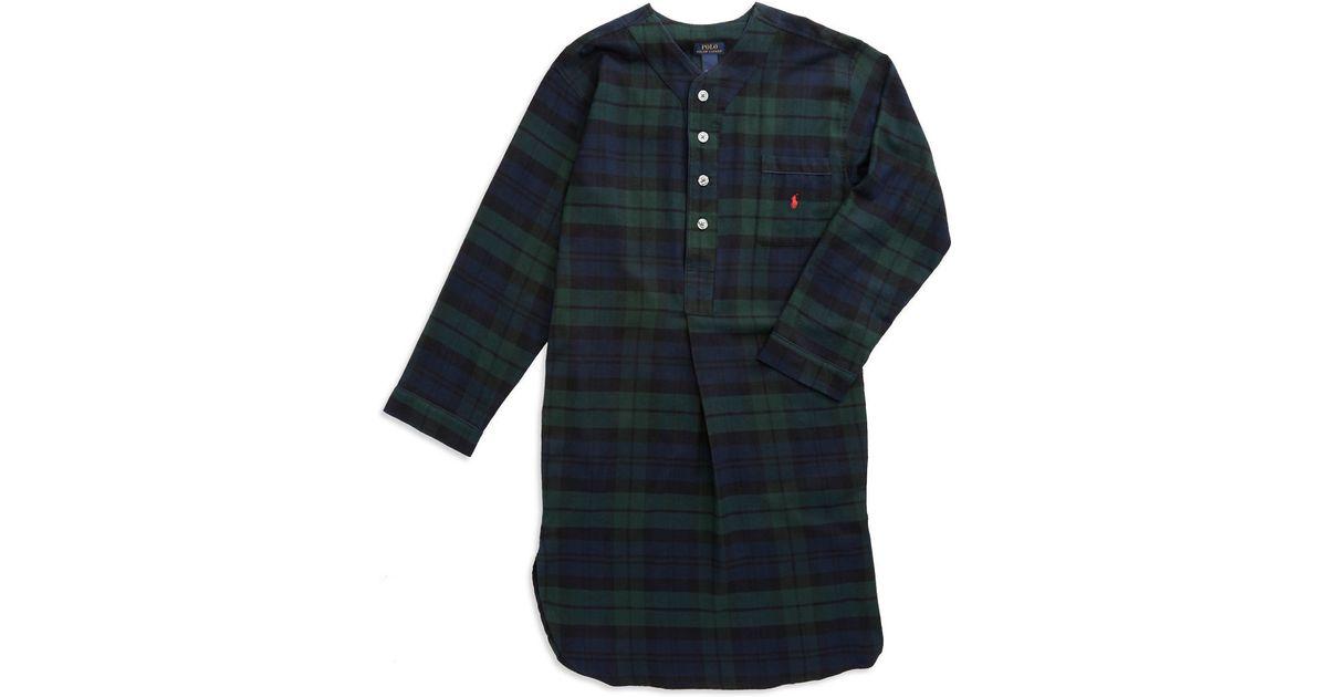 Polo ralph lauren plaid flannel sleepshirt in black for for Black watch plaid flannel shirt