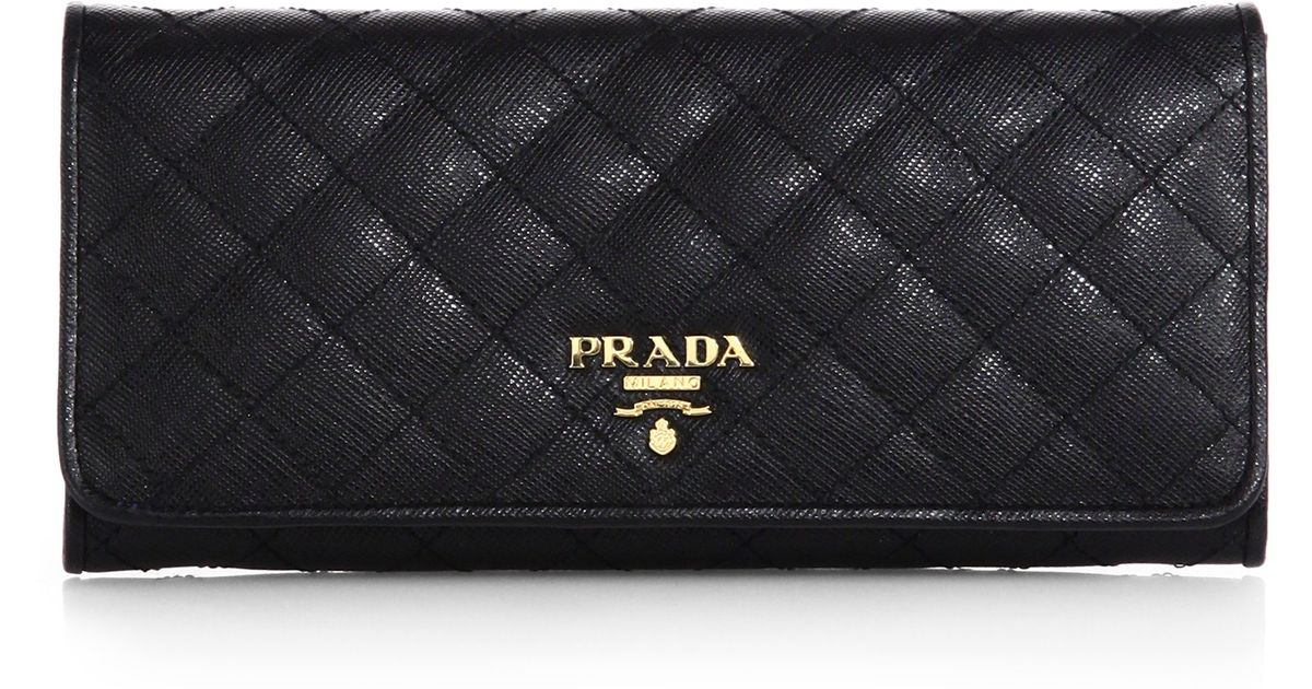Prada Quilted Saffiano Continental Wallet in Black | Lyst : black quilted wallet - Adamdwight.com
