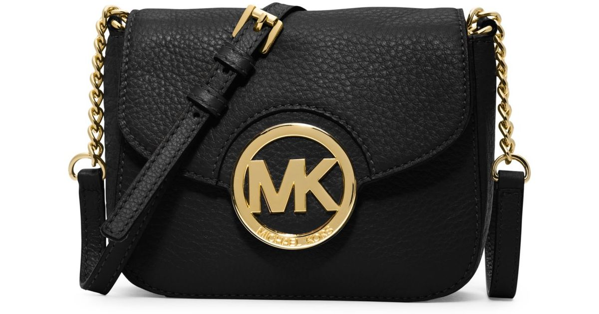 5f617a9bc4f1 ... switzerland lyst michael kors fulton leather small crossbody in black  2372d 0a2e9