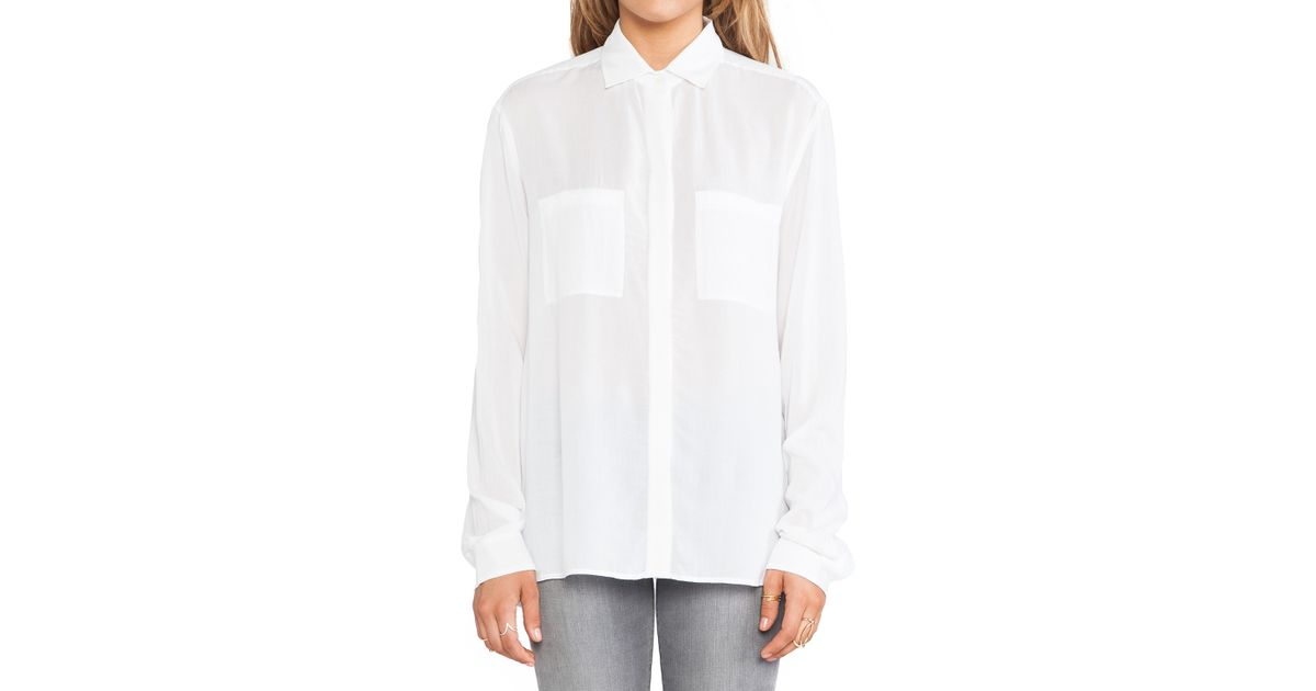 ba2b9b016faee6 Lyst - Vince Long Sleeve Button Up Shirt in White