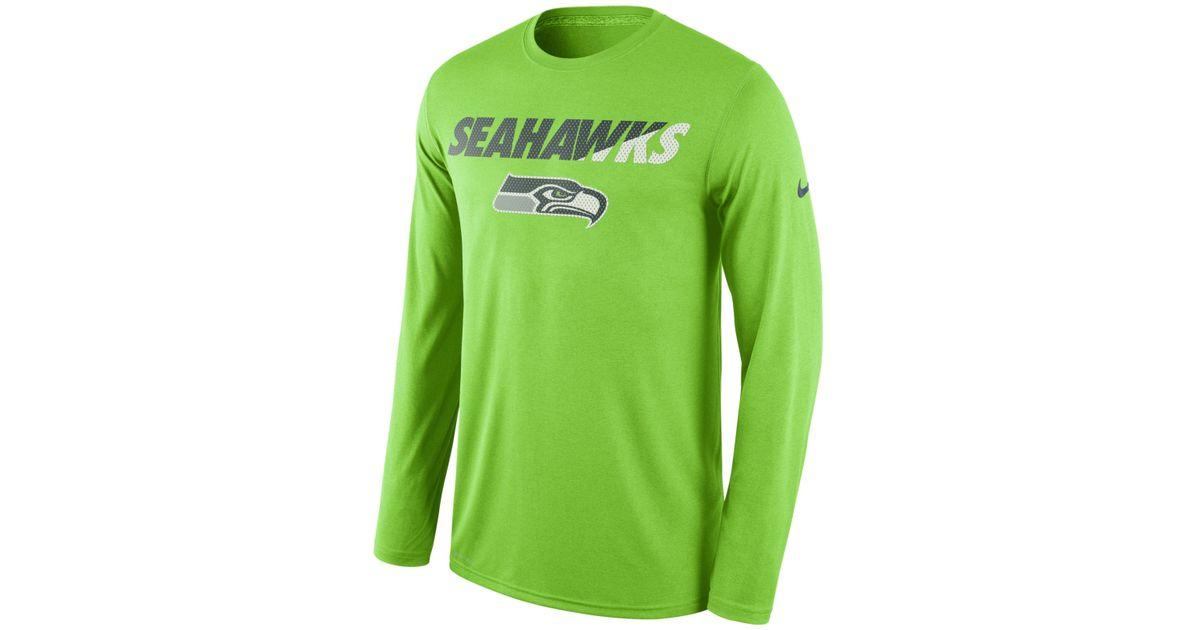 Lyst - Nike Men s Long-sleeve Seattle Seahawks Legend Staff Practice T-shirt  in Green for Men 17f3e7abb