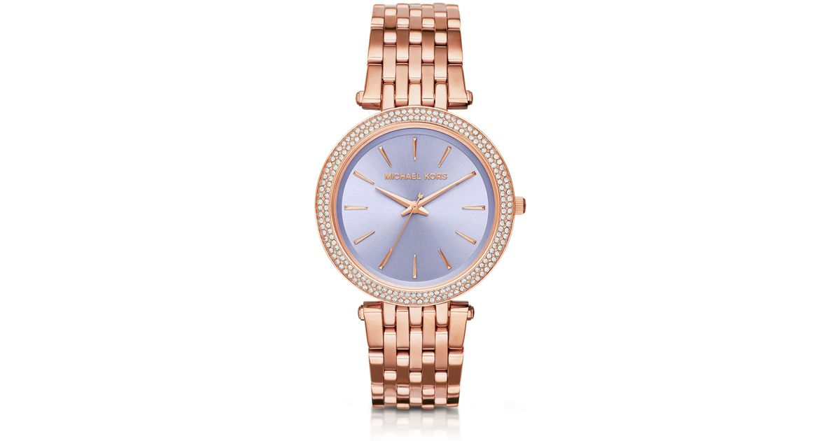 c6af4163b8ff Lyst - Michael Kors Darci Pave Rose Gold-tone Watch in Pink