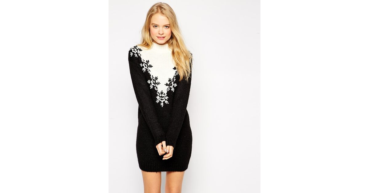 Asos Christmas Jumper Dress With Turtle Neck And Fairisle Embroidery