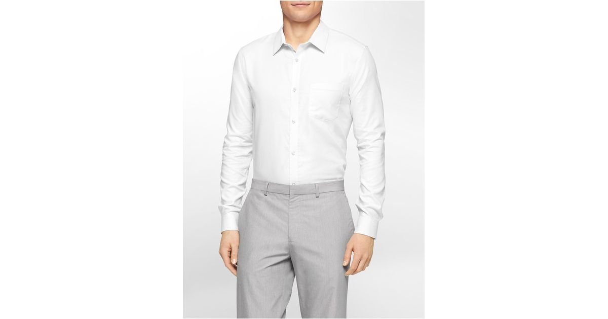 2e7858d8d3f Lyst - Calvin Klein White Label Slim Fit Two-tone Textured Cotton Dobby  Shirt in White for Men