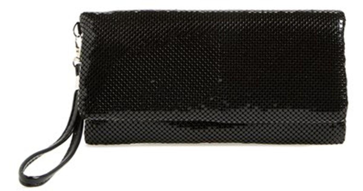 lyst la regale foldover metal mesh clutch in blue. Black Bedroom Furniture Sets. Home Design Ideas