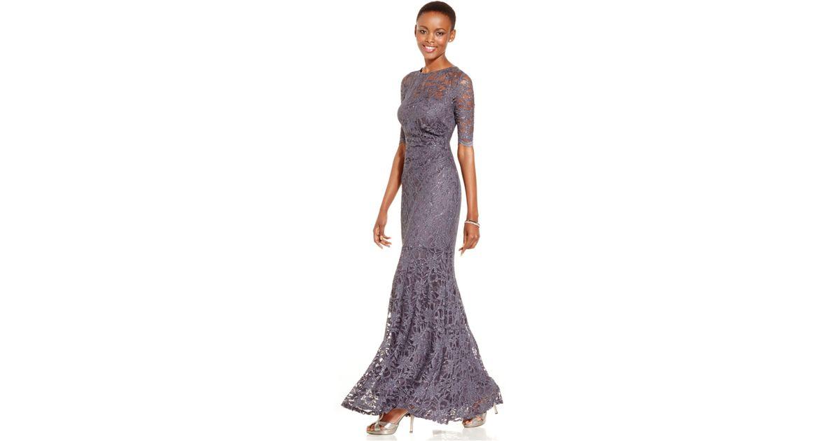 Lyst - Xscape Petite Glitter Lace Mermaid Gown in Gray