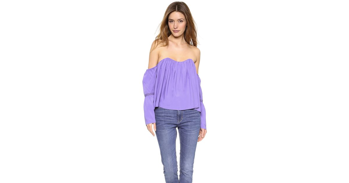 caec443e404 Re:named Cold Shoulder Top - Off White in Purple - Lyst