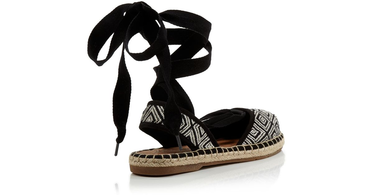 0dcd290506b9 TOMS Lace Up Espadrille Flats - Bella Woven Ankle Tie in Black - Lyst