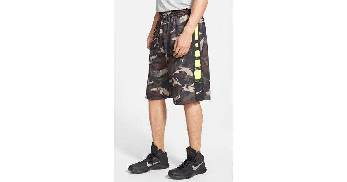 Nike Elite Camo Stripe Dri Fit Basketball Shorts In