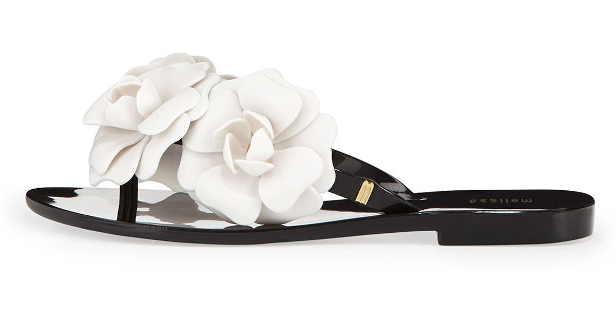 13205d4b86f46 Lyst Melissa Harmonic Garden Flower Embellished Sandals Blackwhite In Black