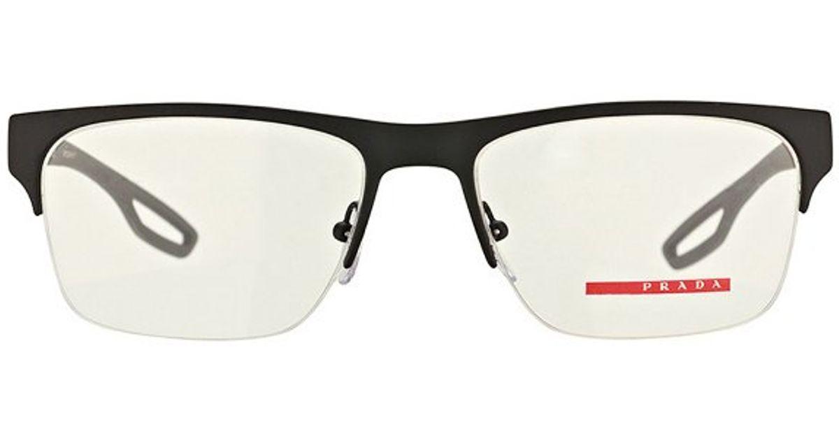 3c48260fa7dad ... sunglasses 4de2f 10366  get prada linea rossa ps 52fv dg01o1 black semi  rimless metal eyeglasses 54mm in black lyst