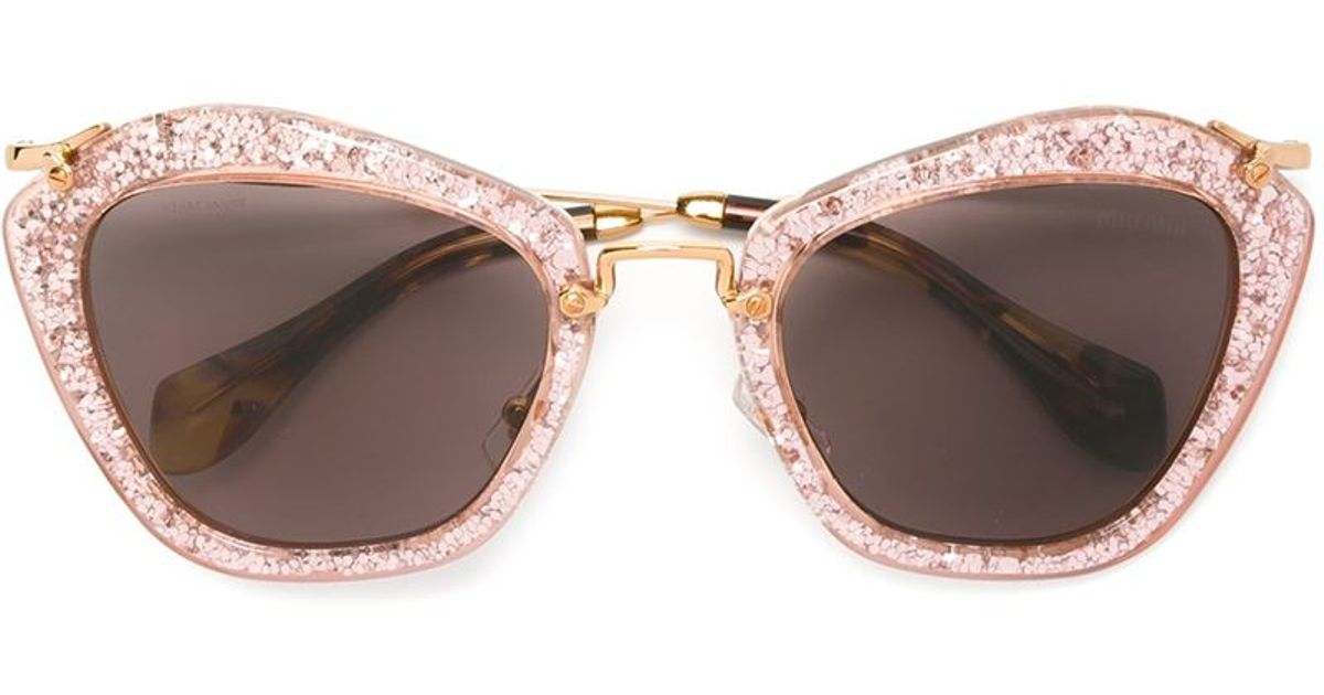 e1e563204 Miu Miu 'noir' Glitter Sunglasses in Pink - Lyst