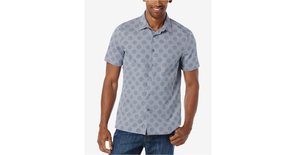 Perry ellis men 39 s big tall large dot short sleeve shirt for Dress shirts for tall men