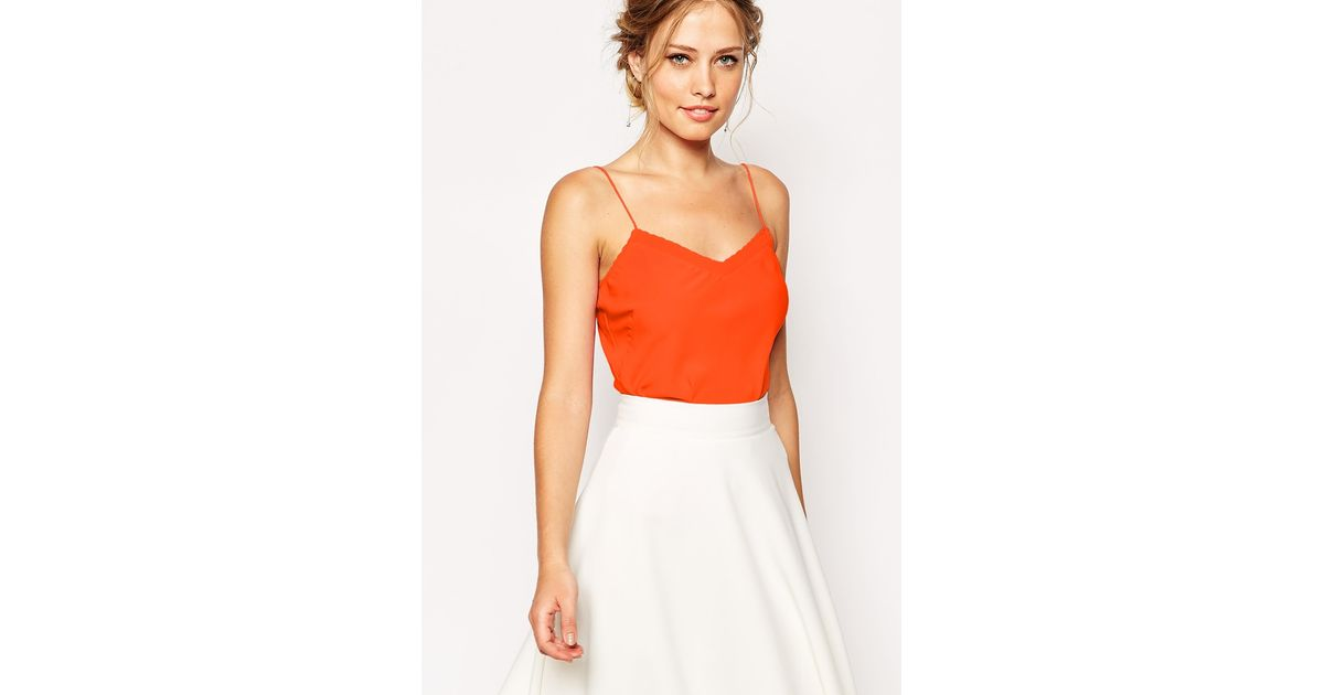 950faf8766854c Lyst - Ted Baker Layering Cami Top With Scallop Edge in Orange