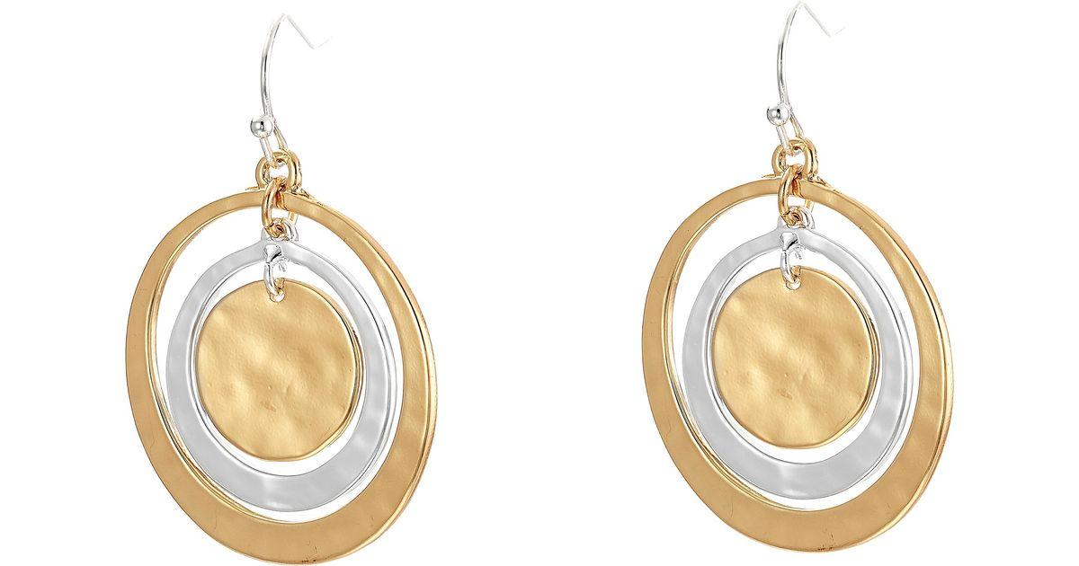 robert morris orbital circle drop earrings in metallic