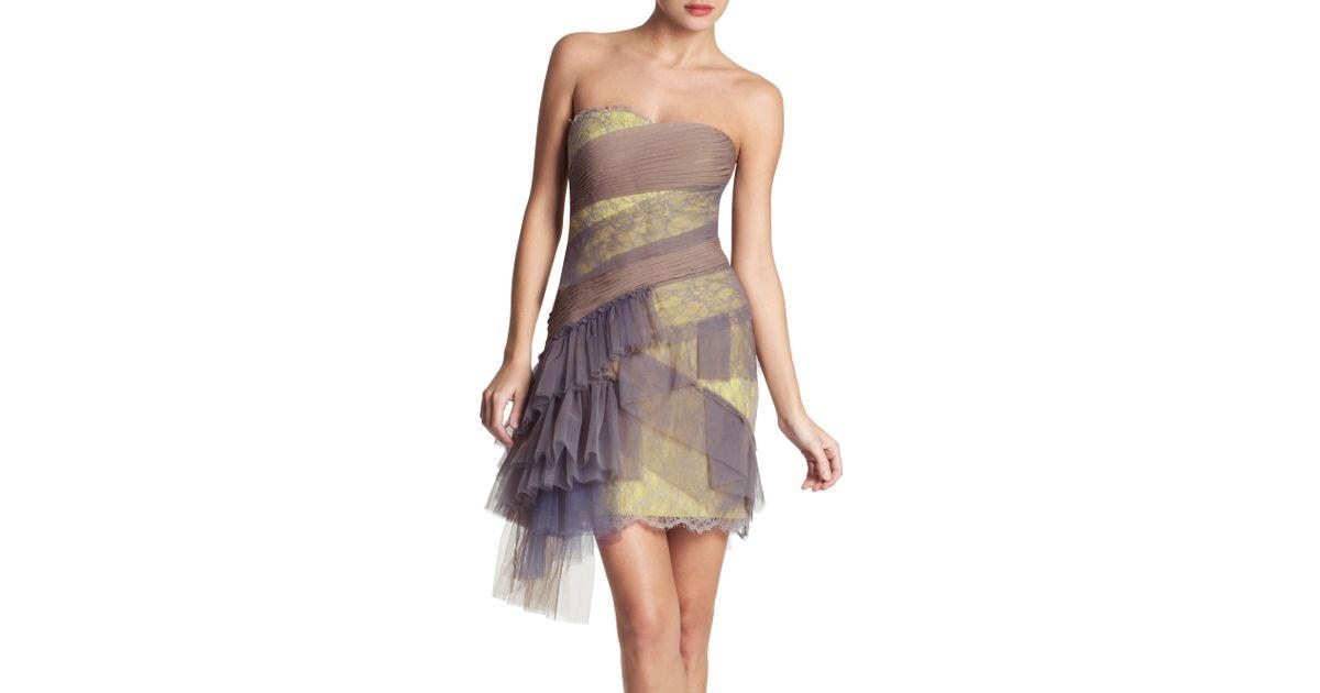 95229f908b Lyst - BCBGMAXAZRIA Runway Asymmetrical Ruffle Skirted Bustier Dress