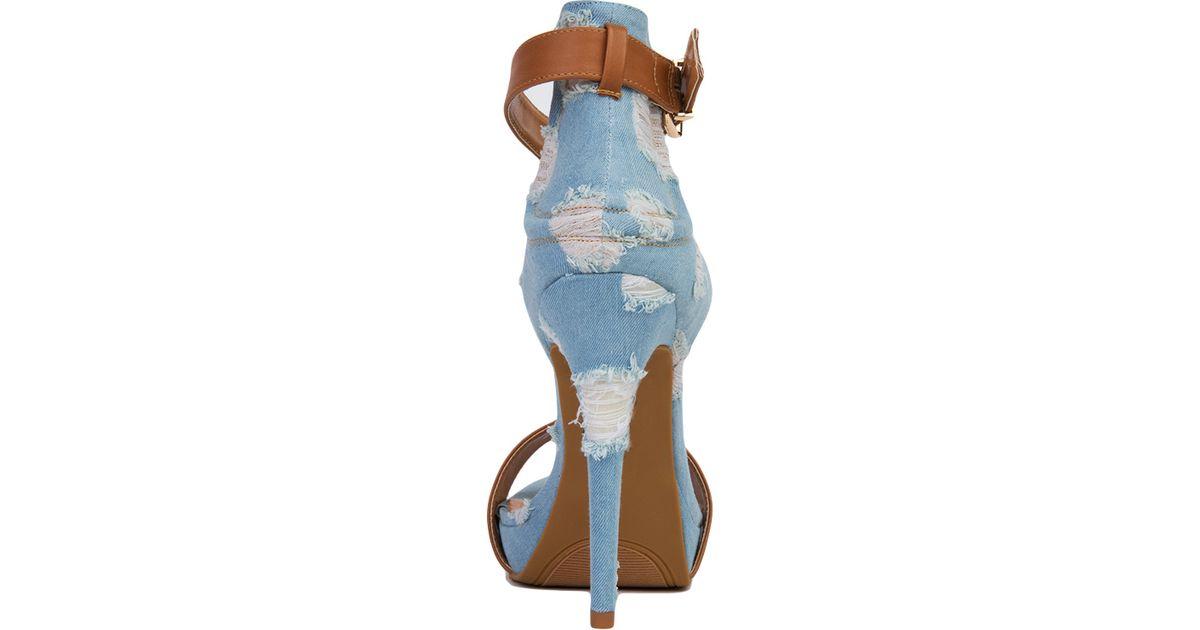 7e5011fd95e9 Lyst - Akira Distressed Denim Open Toe Ankle Strap Heels - Mocha in Blue