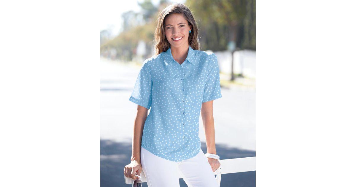 48f81b8813cdb DAMART Spot Print Blouse in Blue - Lyst
