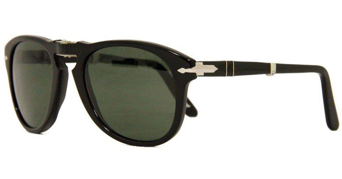 2463dda767 Lyst - Persol 714 Foldable Black Polarized Sunglasses 54Mm 0Po0714 in Black  for Men