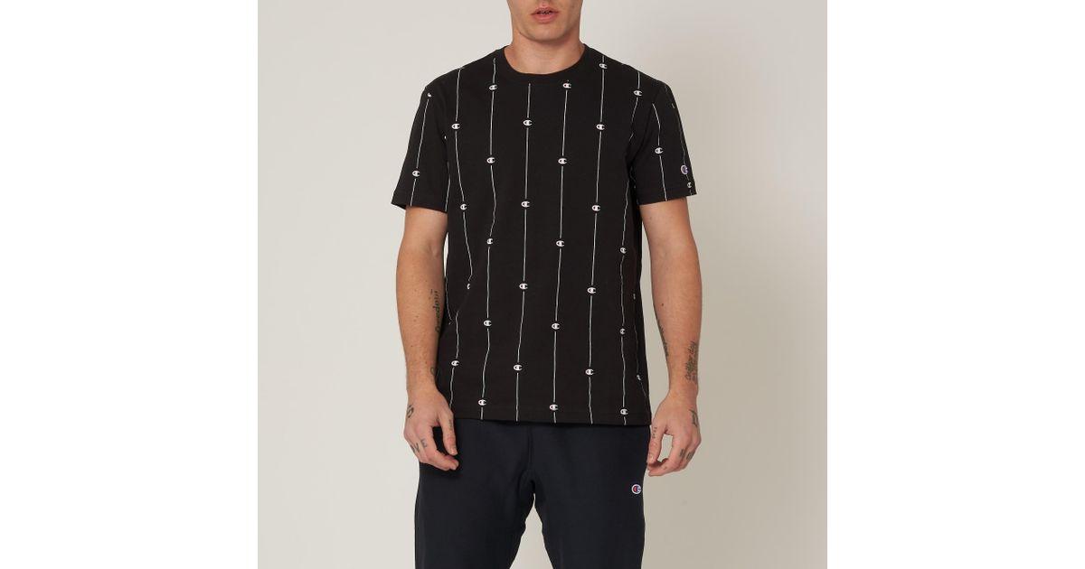 31eca58b Champion Stripe Logo Print T-shirt in Black for Men - Lyst