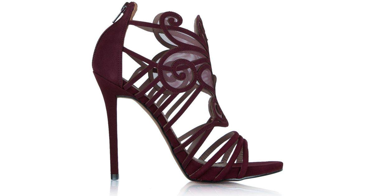 4722aaab73d Lyst - Daniel Worthy Burgundy Suede Mesh Cage Heeled Sandal in Purple
