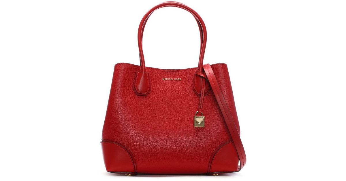 Lyst Michael Kors Annie Medium Bright Red Pebble Leather Tote Bag In