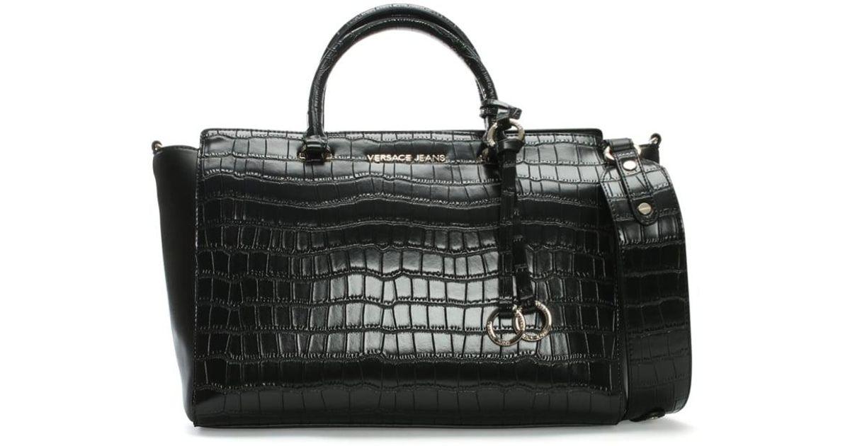 Lyst - Versace Jeans Moc Croc Black Day Bag in Black 7d9a3238b4933