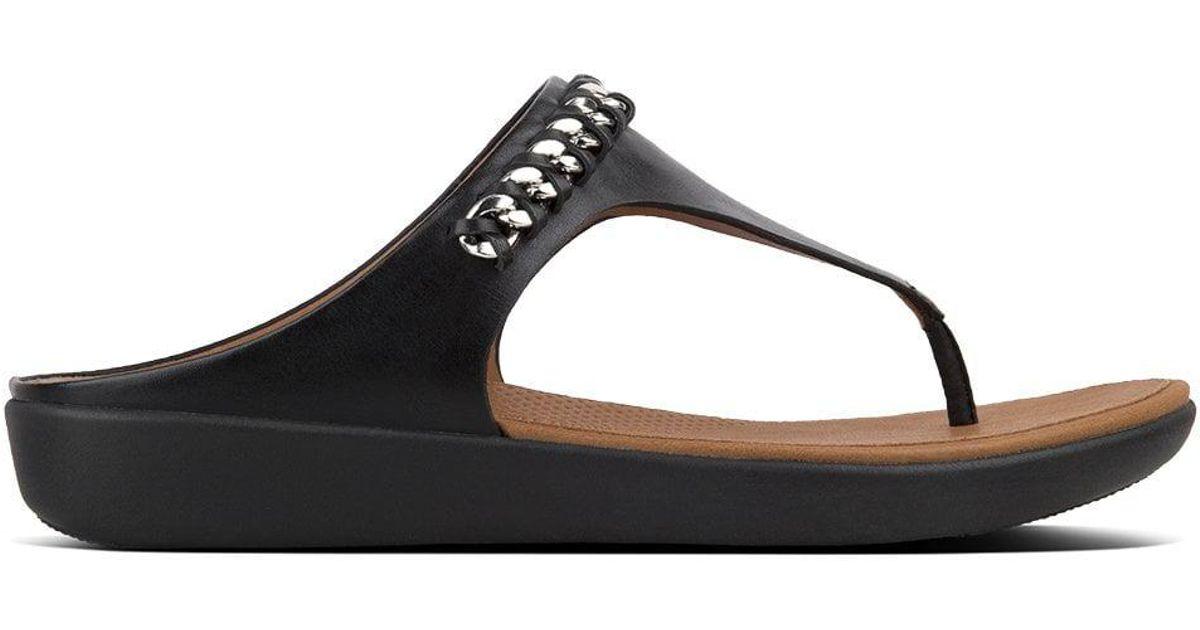 319900584e1b2a Fitflop Banda Chain Black Leather Toe Post Sandals in Black - Lyst