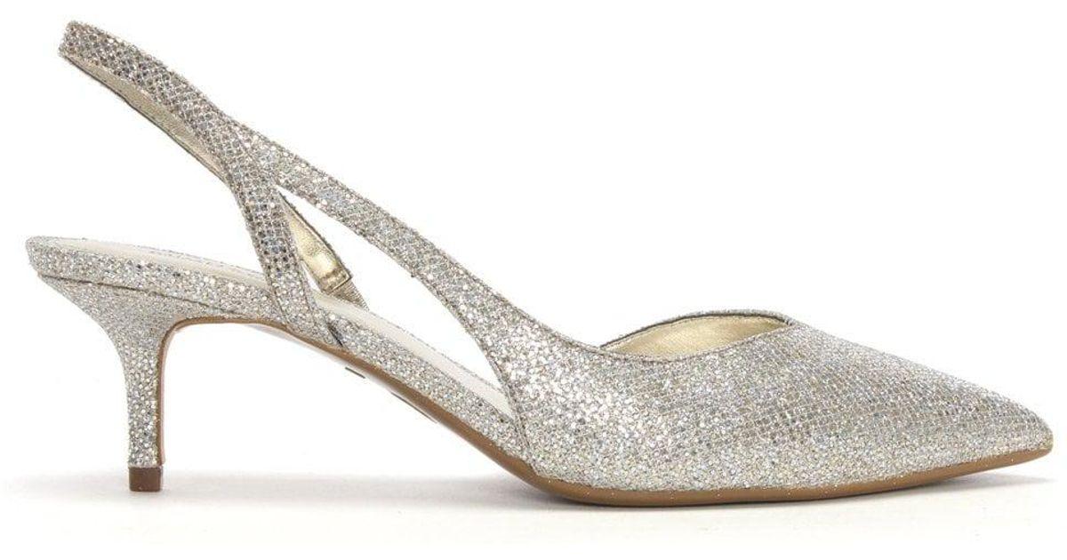 43d9386581e Lyst - Michael Kors Eliza Champagne Glitter Sling Back Kitten Heels in  Metallic - Save 16%